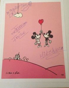 The Final Signed Poster: Mickey Mouse, Jake, Doc McStuffins, Mr. Incredible & Frozone.